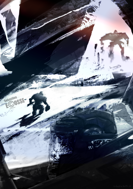speed-painting-snow-mecha-giant-robots-soldier-sebastien-ecosse-illustration
